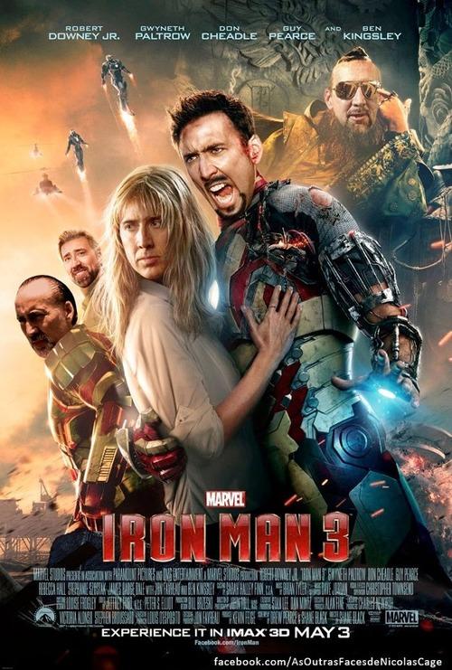 Nicolas Cage Iron Man 3 poster