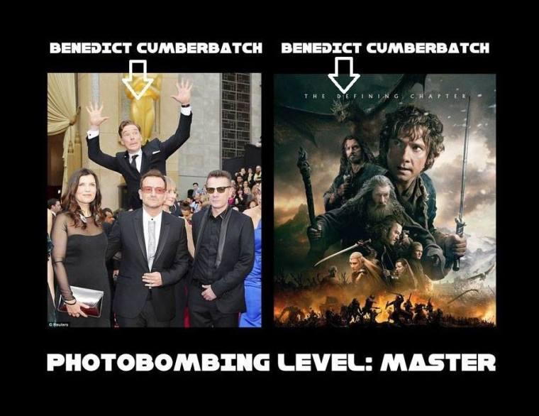 Cumberbatch photobombing