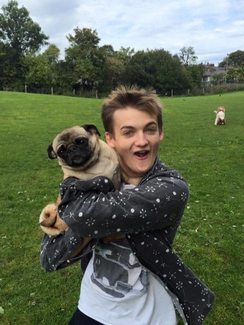 Jack Gleeson and pug