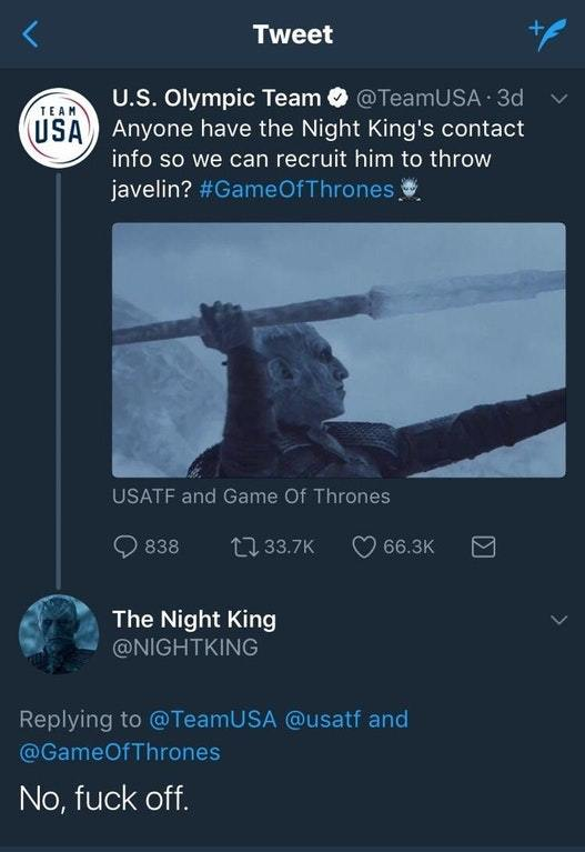 Night King Olympian twitter